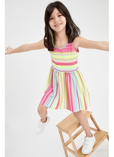 DeFacto Kız Çocuk Çizgi Desenli Kolsuz Elbise Nefti
